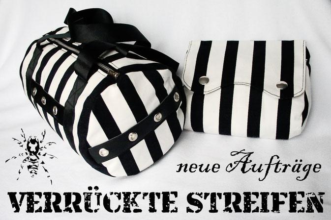 Verrückte Streifen - neue Aufträge - gestreifte Taschen - Zebraspider DIY Anti-Fashion Blog