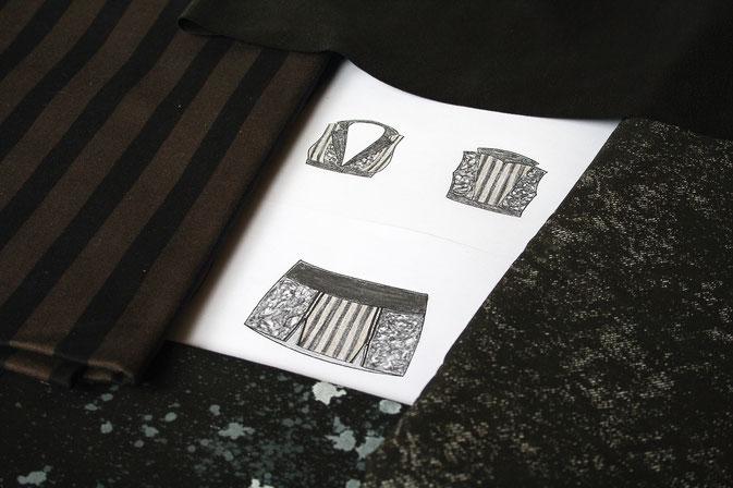 Fetzen-Minirock aus neuen Stoffen - Stoffdetails - Zebraspider DIY Blog