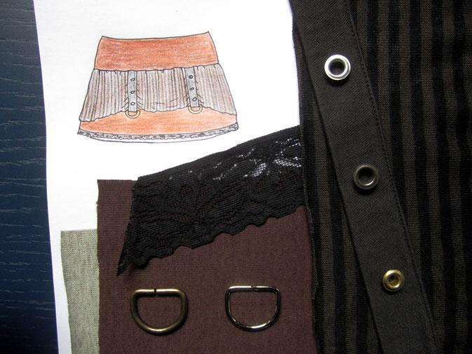Idee: Zeichnung und Stoffe