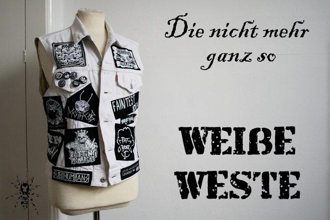 Die nicht mehr ganz so weiße Weste - schwarze Aufnäher drucken - Zebraspider DIY Anti-Fashion Blog