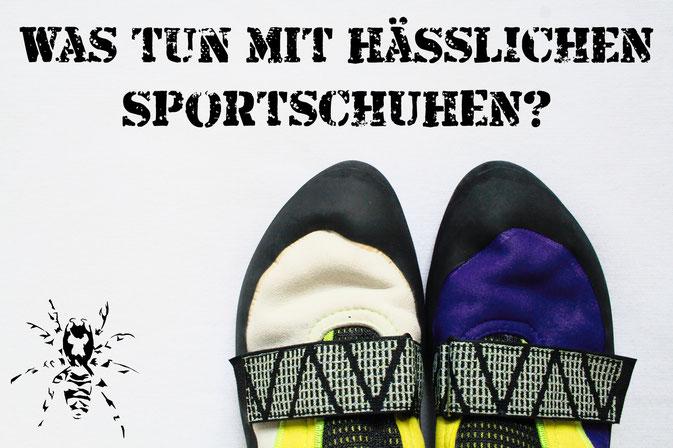 Was tun mit hässlichen Sportschuhen? - Kletterschuhe anmalen - Zebraspider DIY Anti-Fashion Blog