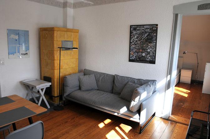 Ferienwohnung Muschel: helles, sonniges Wohnzimmer