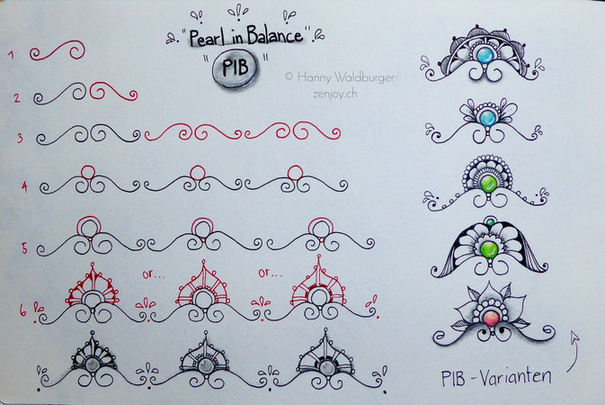 Stepout PiB (Pearl in Balanc) by Hanny Waldburger/zenjoy.ch zentangle