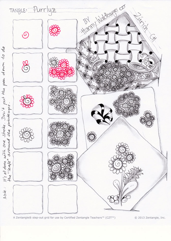 Purrlyz pattern by Zenjoy stepout zentangle