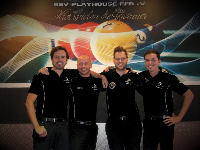 v.l.: Harry Stolka, Roman Hybler, Dimitri Jungo, Philipp Stojanovic
