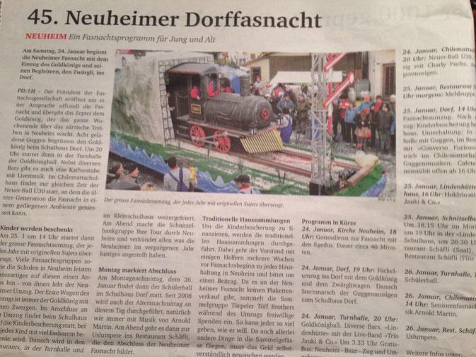 Ein kleiner Zeitungsbericht hat unser letztjähriges Sujet aufgeschnappt und Werbung für den diesjährigen Umzug gemacht :-) Das freut uns natürlich sehr.
