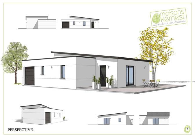 maison enduit blanc de plain pied avec toits terrasse et monopente.