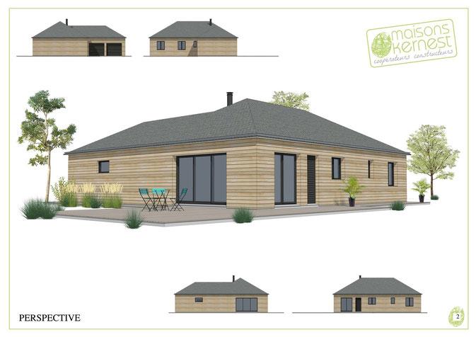 maison bois en l de plain pied avec double garage et charpente traditionnelle