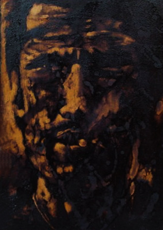 """""""Se te pijo te sfonno..."""" (2009) olio su legno, cm (35 x 24,7)"""