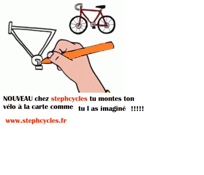 tu choisis ton cadre et ta fourche , ton groupe , tes roues , tes pneus et le tour est joué tu as ton vélo personnalisé et adapté à ta pratique !!!