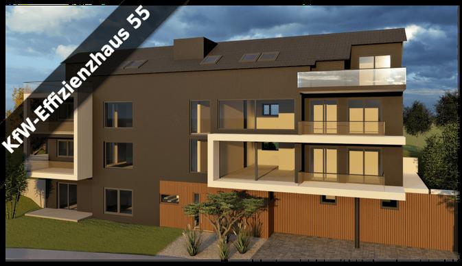 Animation eines projektierten Mehrfamilienhauses in Marbach am Neckar mit KfW-Standard 55