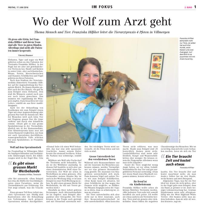 Bericht im Wohler Anzeiger vom 17. Juni 2016