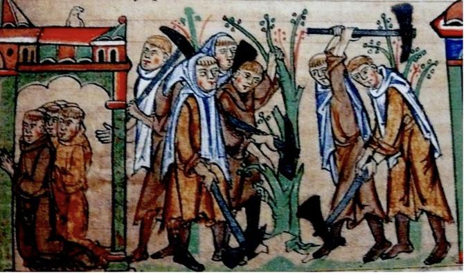 Moines Cisterciens travaillant la vigne