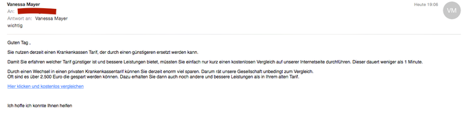 Screenshot einer solchen SPAM-E-Mail