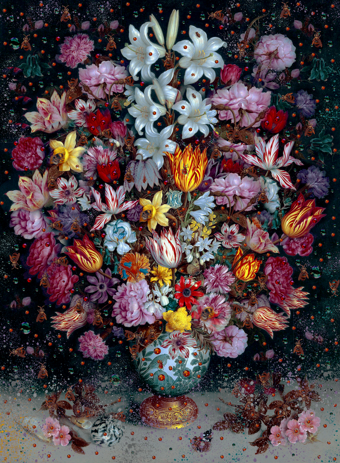 Collage Spring Flowers Fireworks (Explosion) - Mixed Media Tina Cassati - Hommage / Tribute Ambrosius Bosschaert