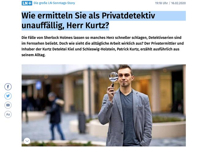 Patrick Kurtz Lübecker Nachrichten, Privatdetektiv Lübeck, Detektei Lübeck, Detektiv Lübeck