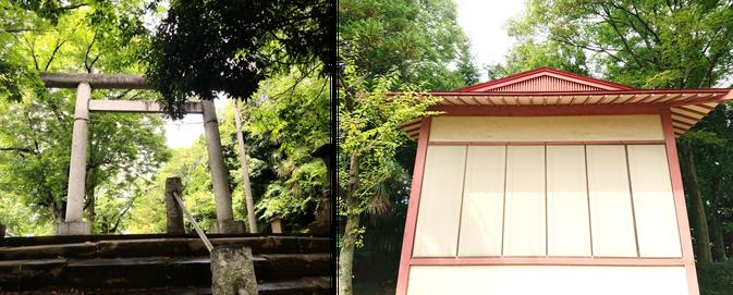 阿夫利天神社(本庄市)の鳥居と神楽殿