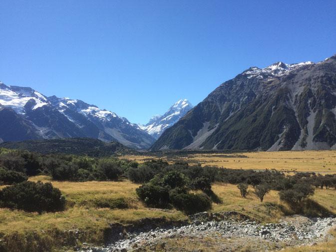 La vue depuis le Mt Cook's village.