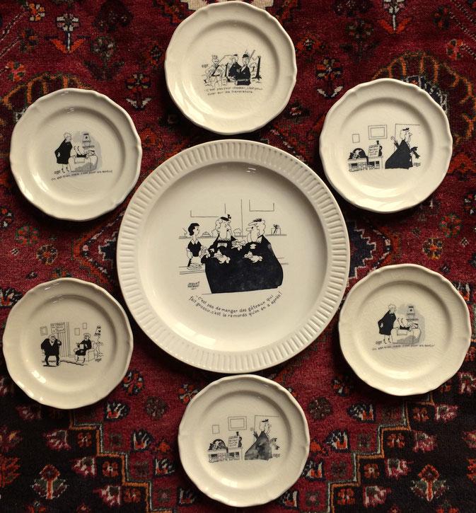 vaisselle vintage, Jacques Faizant, vieilles dames, bande dessinée, dessin humoristique