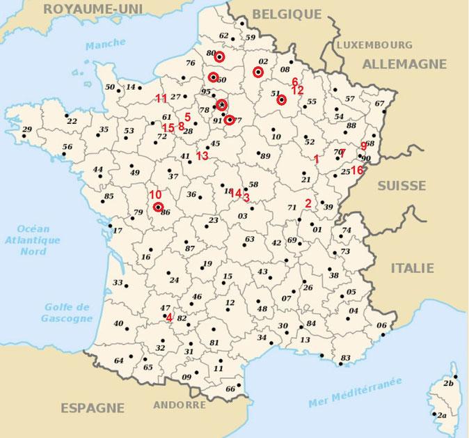 N° de lieux et diocèses d'origine déclaré