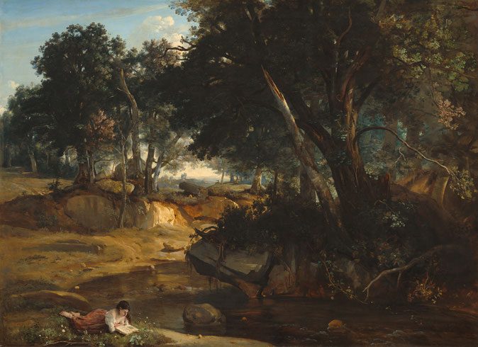 カミーユ・コロー《フォンテーヌブローの森の眺め》1830年