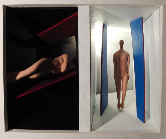 philipp christoph haas | [untitled] from series 'koerper und raum' | wood, cardboard, keramiplast, gesso, acrylic | 36x42x24cm | 2015