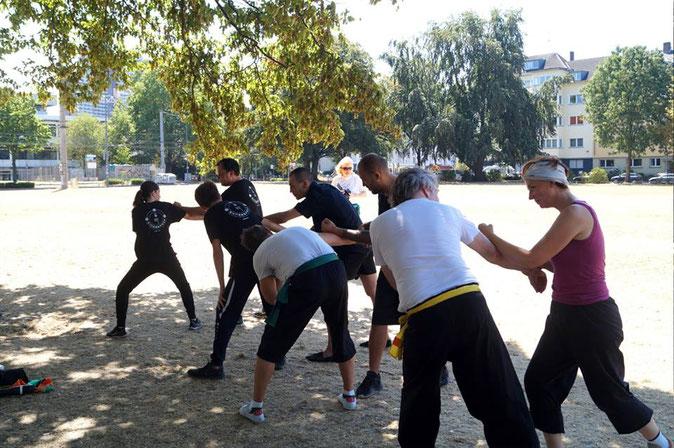 Hebeltechniken gehören ebenfalls zum Technikprogramm des traditionellen Kung Fu