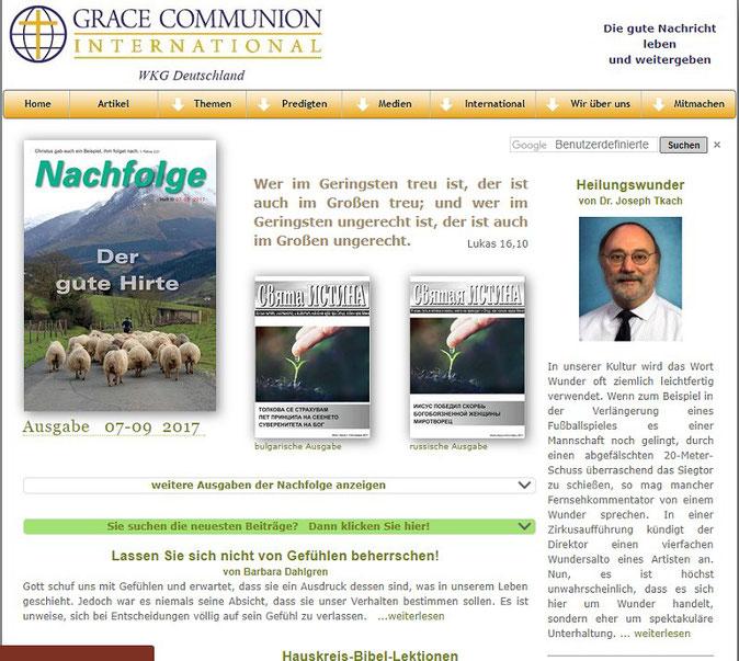 Homepage der Weltweiten Kirche Gottes