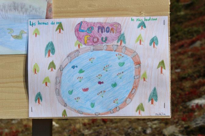 Photos du dessin de Mathilde avec le nom de l'étang: Les larmes du fou