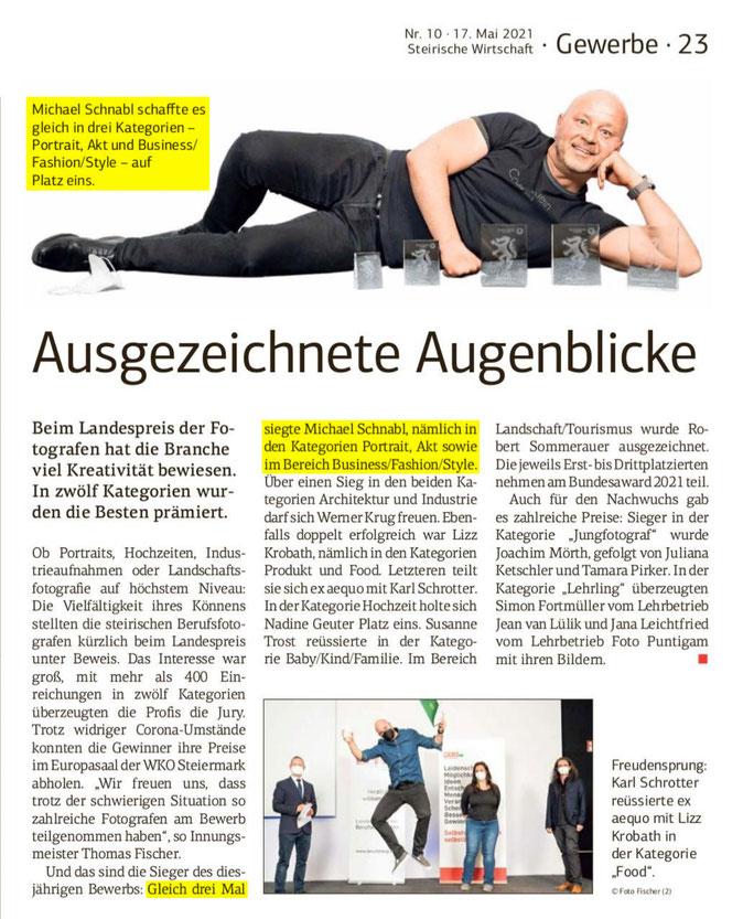 Artikel über den steirischen Landespreis der Berufsfotografen 2020 in der steirischen Wirtschaft. Michael Schnabl war zum zweiten Mal in Folge der erfolgreichste steirische Fotograf - er siegte in den Kategorien Portrait, Nude und Business/Fashion/Style.