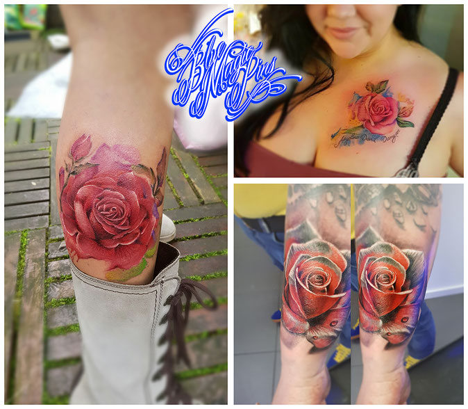 watercolor roses Blue Magic Pins tattoo