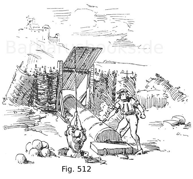 Fig. 512. Belagerungsgeschütz in Stellung, mit Blende. 14. Jahrhundert. Nach Froissard.