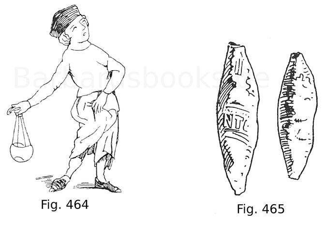 Fig. 464. Schleuderer, nach einer Miniatur im Codex Balduini Trevirensis, die Romfahrt Kaiser Heinrichs VII. darstellend. Mitte 14. Jahrhundert. Nach Irmer. Fig. 465. Schleuderblei, aus Schlössern in der Umgebung von Treviso stammend. Anfang 15. Jahrhunde