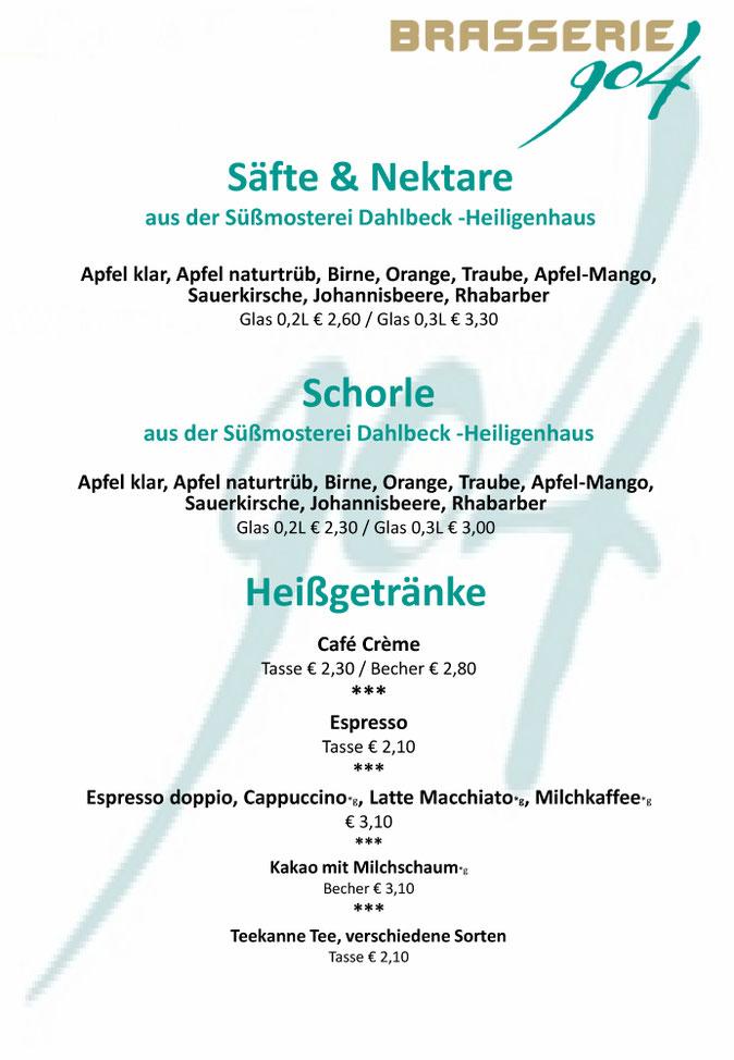 Brasserie 904 - Getränkekarte Säfte & Heißgetränke