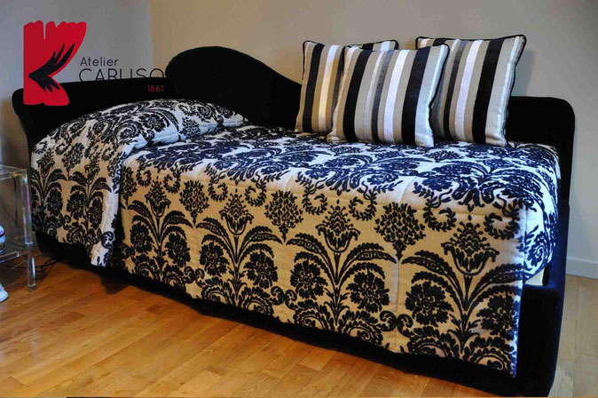 Letto su misura atelier tessuti arredamento tende - Tende abbinate al copriletto ...