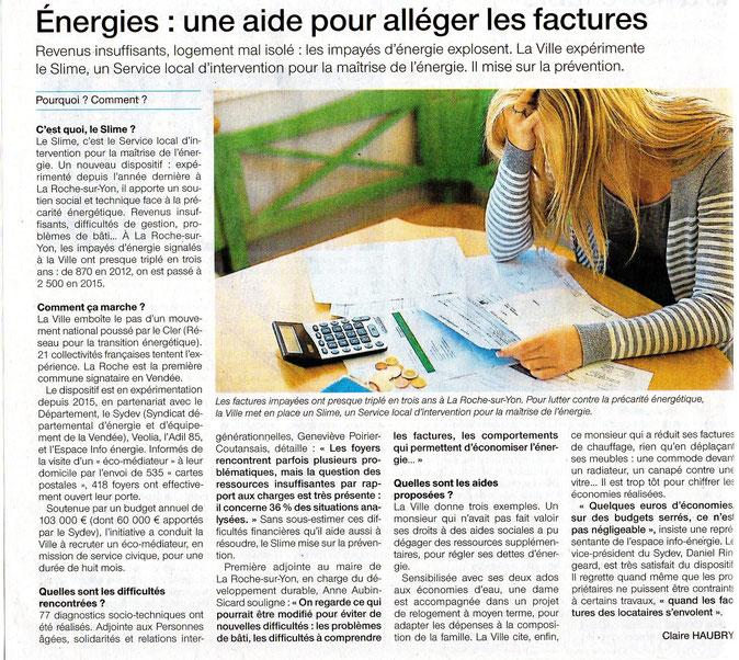 publication Ouest france janvier 2016