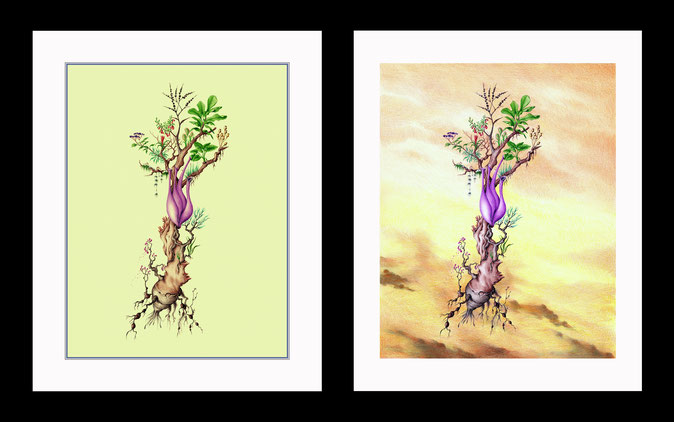 dibujos a bolígrafo, arte fantastico, dibujos surrealistas, dibujo fantastico, paisajes fantasticos, dibujantes españoles, dibujos de plantas, dibujos a lápiz