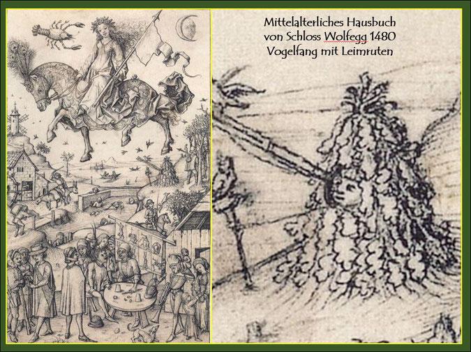 Quelle: Mittelalterliches Hausbuch von Schloss Wolfegg 1480, Vogelfang mit Leimruten.