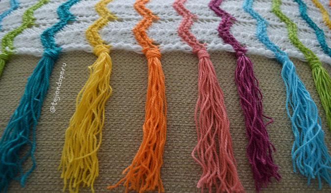 Cómo tejer una colcha en zigzag calado arcoiris  en dos agujas o palitos