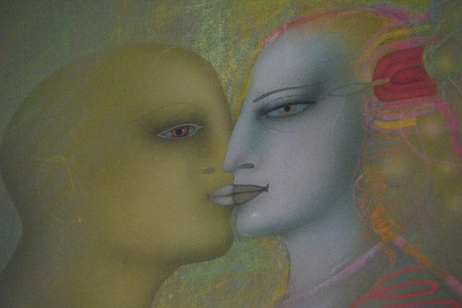 Fotografie vom Gemälde des surrealistischen Malers und Bildhauers Paul Wunderlich