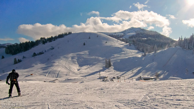 Gute präparierte Pisten im unteren Sudelfeld und unter der Woche nur wenige Wintersportler