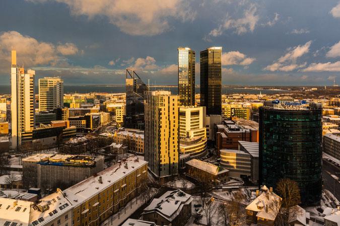 Blick auf das moderne Stadtzentrum von Tallinn und der Hafen im Hintergrund im Winter. Das Licht ist der Wahnsinn.