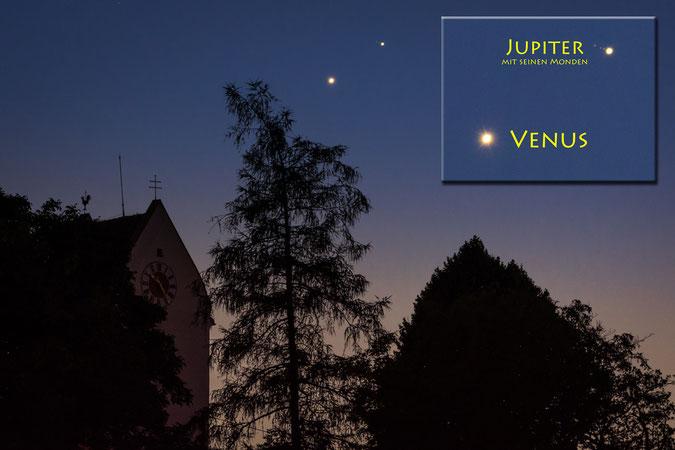01.07. 2015 - Spektakuläre Begegnung am Abendhimmel: Venus und Jupiter. Die Planeten sind überbelichtet um die Jupitermonde sichtbar zu machen (Sichtbar: Kallisto- Io - Europa - Jupiter / Ganymed befindet sich vor Jupiter) - Klicken zum vergrößern