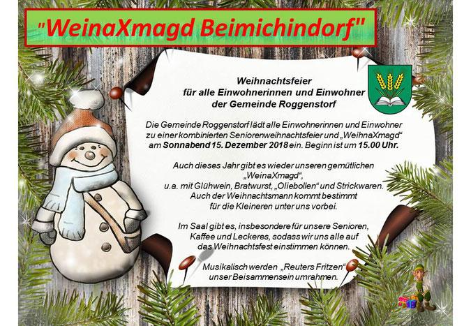 Grafik mit Weihnachtsmann, Tannengrün, Wappen von Roggenstorf und dem Programm der Weihnachtsfeier am 15.12.2018