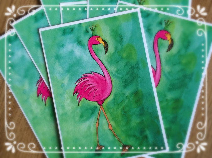 Aquarell, Postkarte, Flamingo, pink, Illustration, silvanillion
