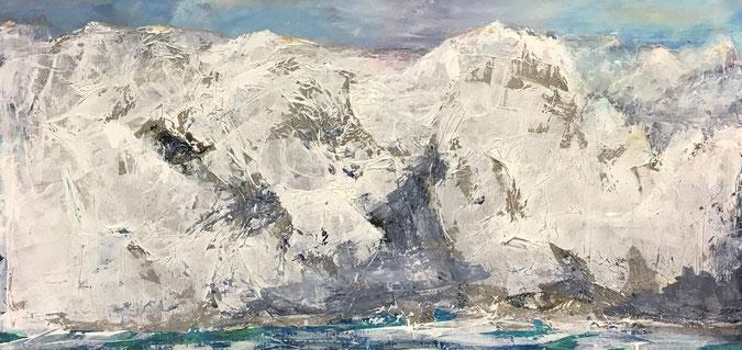 Alpenwelle | Acryl-Mischtechnik | 60 x 120 cm
