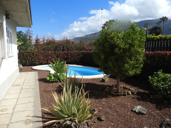 Blick auf Garten und Pool
