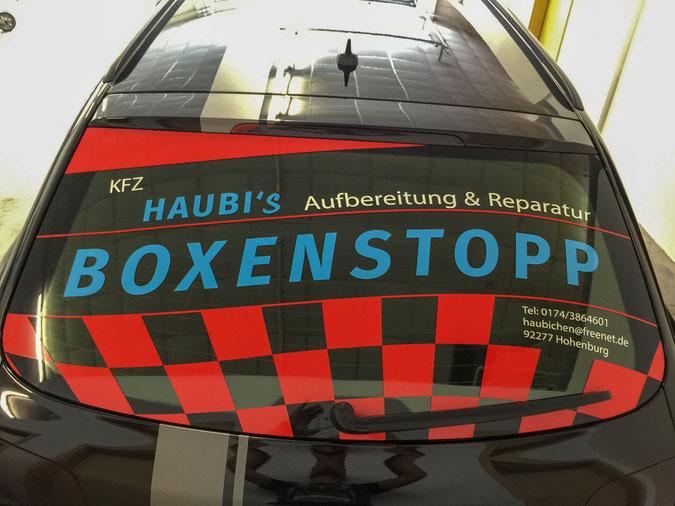 Autobeschriftung KFZ Haubi´s Boxenstopp