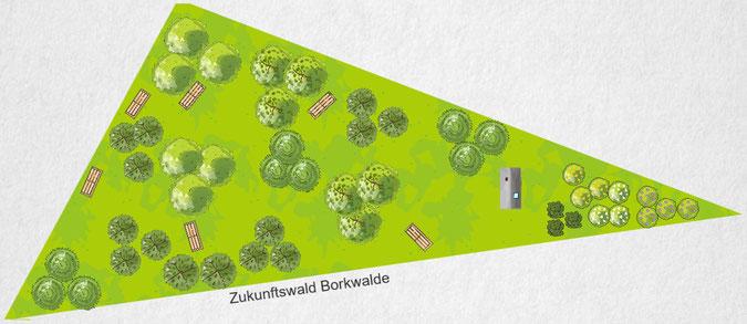 Grundstück der Evangelischen Kirchengemeinde mit Waldkapelle in Borkwalde - so könnte es hier einmal aussehen