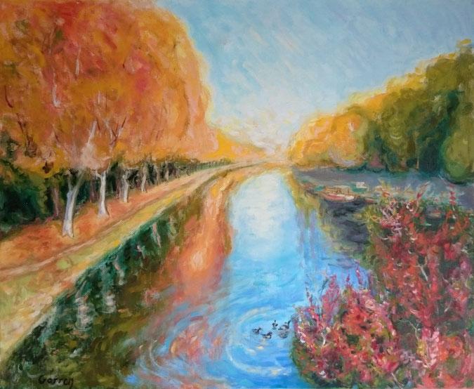 Sur le pont, Castets en Dorthe - Huile sur toile - 61 x 50 cm